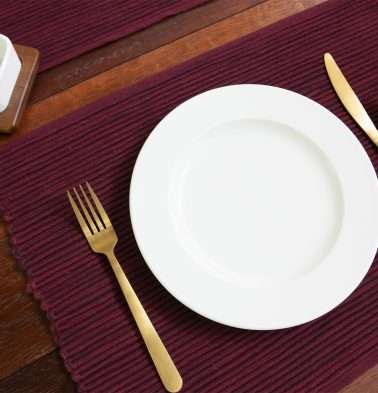 Handwoven Cotton Table Mats Maroon- Set of 6