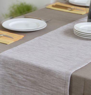 Handwoven Cotton Table Runner White Sand 14