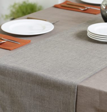 Pinstripes Cotton Table Runner Black/Beige 14