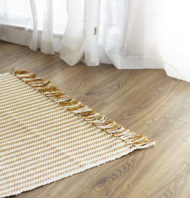 Broad Striped Handwoven Cotton Rug Mustard 36