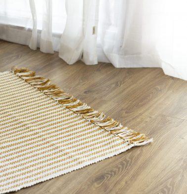 Broad Striped Handwoven Cotton Rug Mustard 36