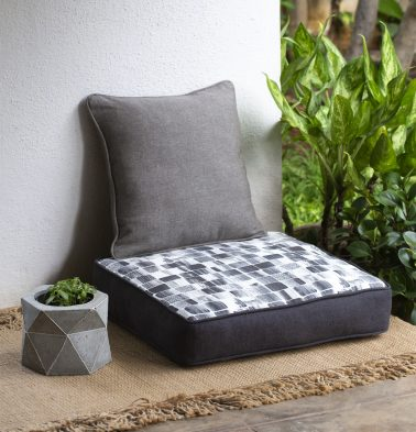 Chambray Brush Stroke Printed Cotton Floor Cushion-Black