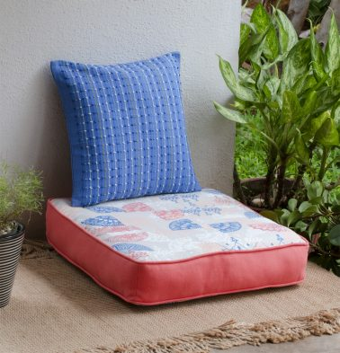 Chambray Scattered Printed Cotton Floor Cushion Blue/Red
