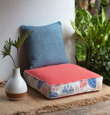 Chambray Scattered Printed Cotton Floor Cushion Coral/Blue
