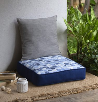 Chambray Brush Stroke Printed Cotton Floor Cushion-Blue