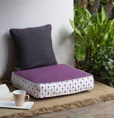 Chambray diamond lines printed cotton Floor Cushion purple