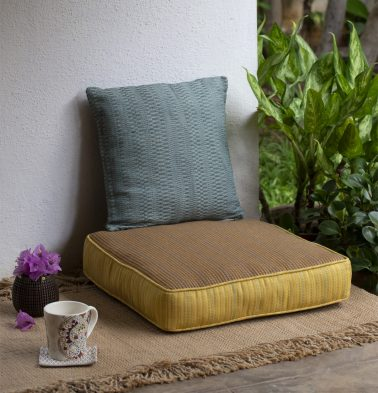 Dobby cotton floor cushion brown/yellow