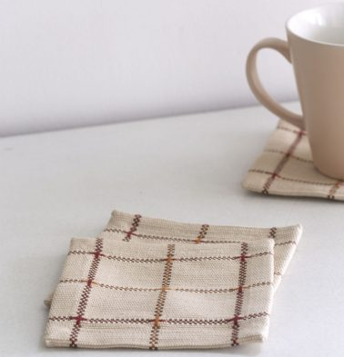 Handwoven Checks Cotton Coasters Beige - Set of 6