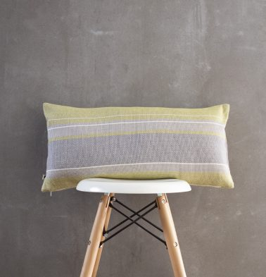 Handwoven Horizontal Stripes Cotton Cushion Cover Lemon Green/Grey 12″x24″