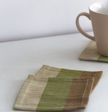 Handwoven Stripe Cotton Coasters Beige/Green – Set of  6