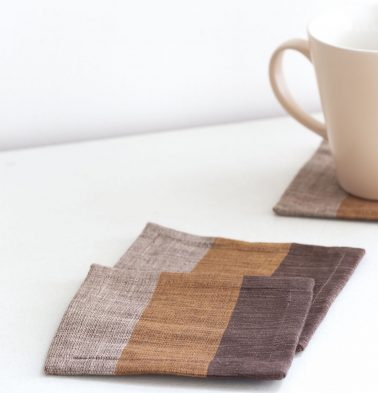 Handwoven Stripe  Cotton Coasters Brown/Mustard  – Set of 6