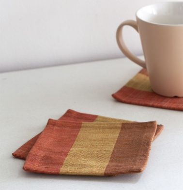 Handwoven Stripe Cotton Coasters Orange/Yellow – Set of 6