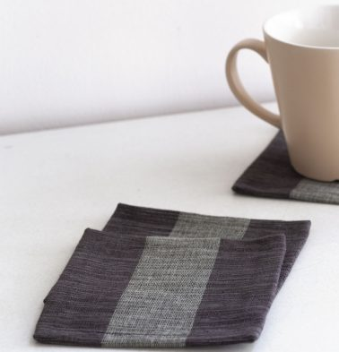 Handwoven Stripe Cotton Coasters Shades Of Grey – Set of 6