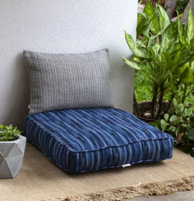 Handwoven Tiles Cotton Floor Cushion Shades of Blue