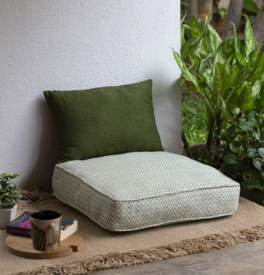 Handwoven chevron cotton floor cushion green