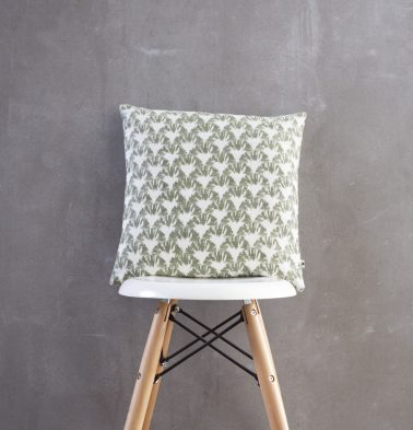 Ikat Cotton Cushion Cover Green 16