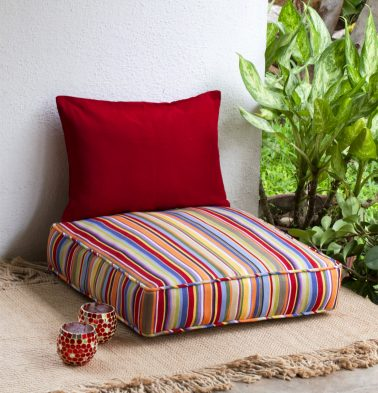 Sunny Stripe Cotton Floor Cushion Multi color