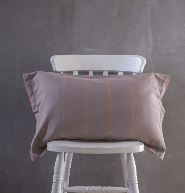 Sunset Stripes Cotton Pillow Cover- Grey/Orange