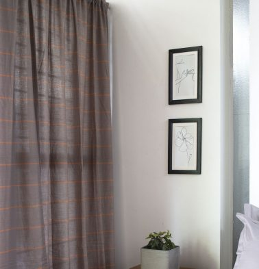 Horizontal Sunset Striped Cotton Curtain Grey/Orange