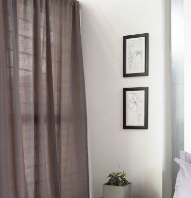 Vertical Sunset Striped Cotton Curtain Grey/Orange