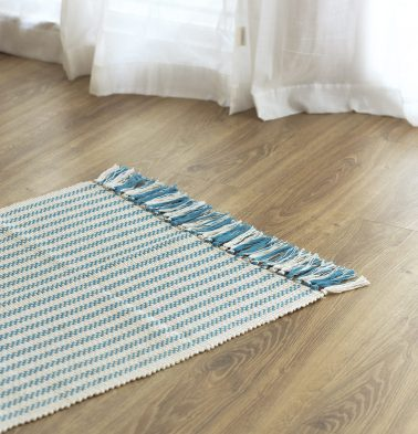 Broad Striped Handwoven Cotton Rug Blue 24