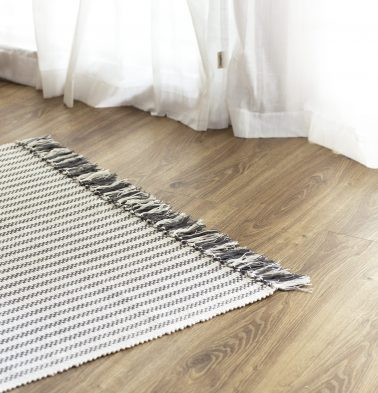 Broad Striped Handwoven Cotton Rug Grey 36