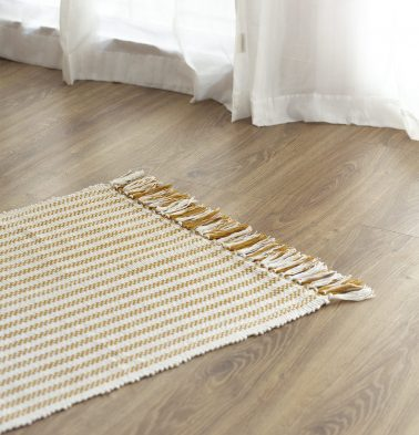 Broad Striped Handwoven Cotton Rug Mustard 24