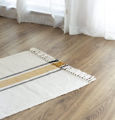 Broad Striped Handwoven Cotton Rug Mustard/Black