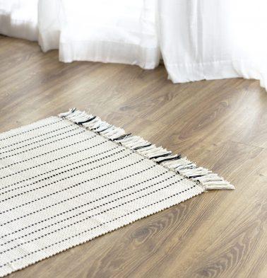 Fine Striped Handwoven Cotton Rug Black 24