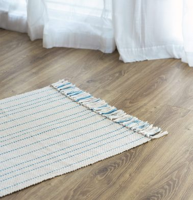 Fine Striped Handwoven Cotton Rug Blue 24