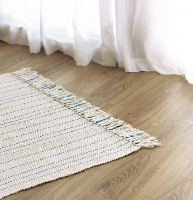 Fine Striped Handwoven Cotton Rug Blue 36