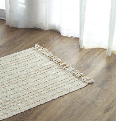 Fine Striped Handwoven Cotton Rug Mustard 24
