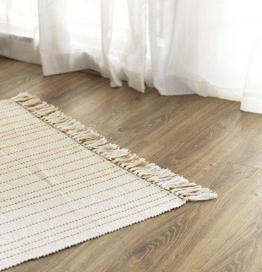 Fine Striped Handwoven Cotton Rug Mustard 36