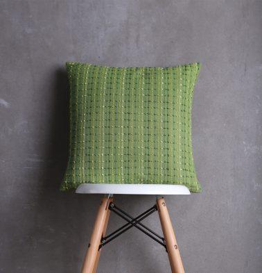 Handwoven Stripes Cotton Cushion cover Greenbriar 18