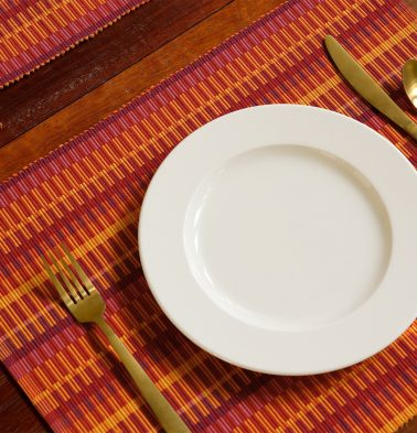 Handwoven Cotton Table Mats Beetroot Red/Yellow- Set of 6