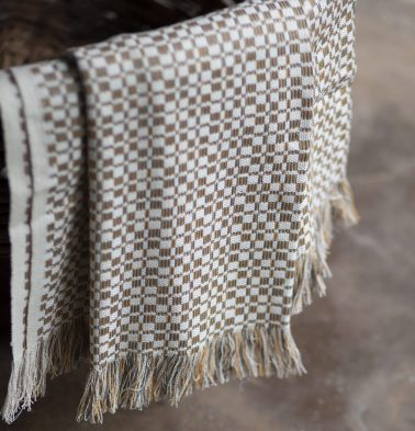 Handwoven Cotton Throw Grey/Yellow