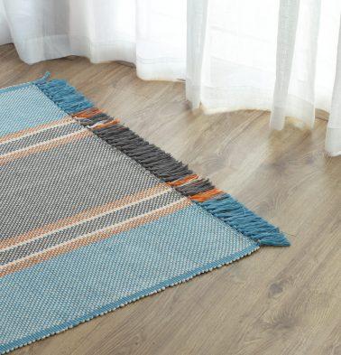 Handwoven Striped Cotton Rug Blue/Orange 36