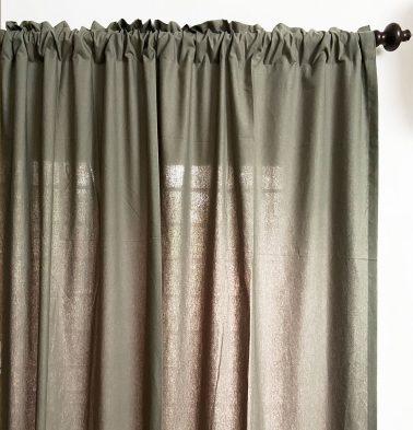Solid Cotton Curtain Castor Grey
