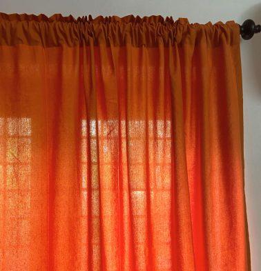 Solid Cotton Curtain Hawaiian Sunset Orange