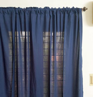 Solid Cotton Curtain Navy Blue