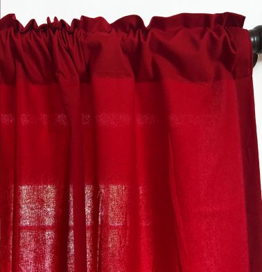 Solid Cotton Curtain Tango Red