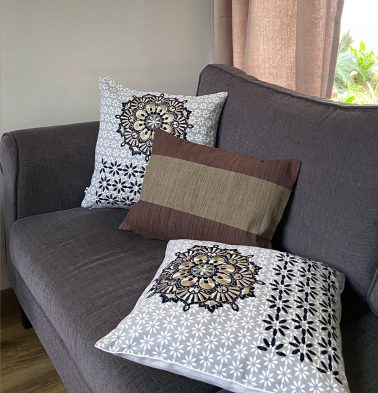 Embroidered Brown Cotton Cushion covers  - Bundle of 3