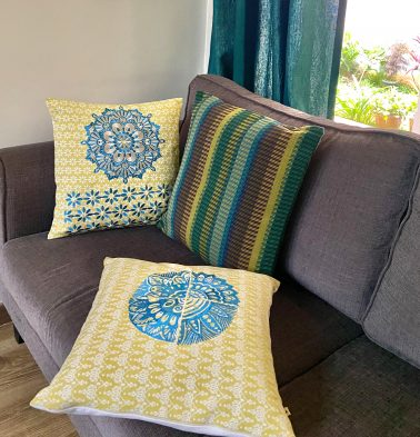 Embroidered Yellow Cotton Cushion covers  - Bundle of 3