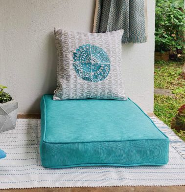 Handwoven Cotton Floor Cushion Teal Blue