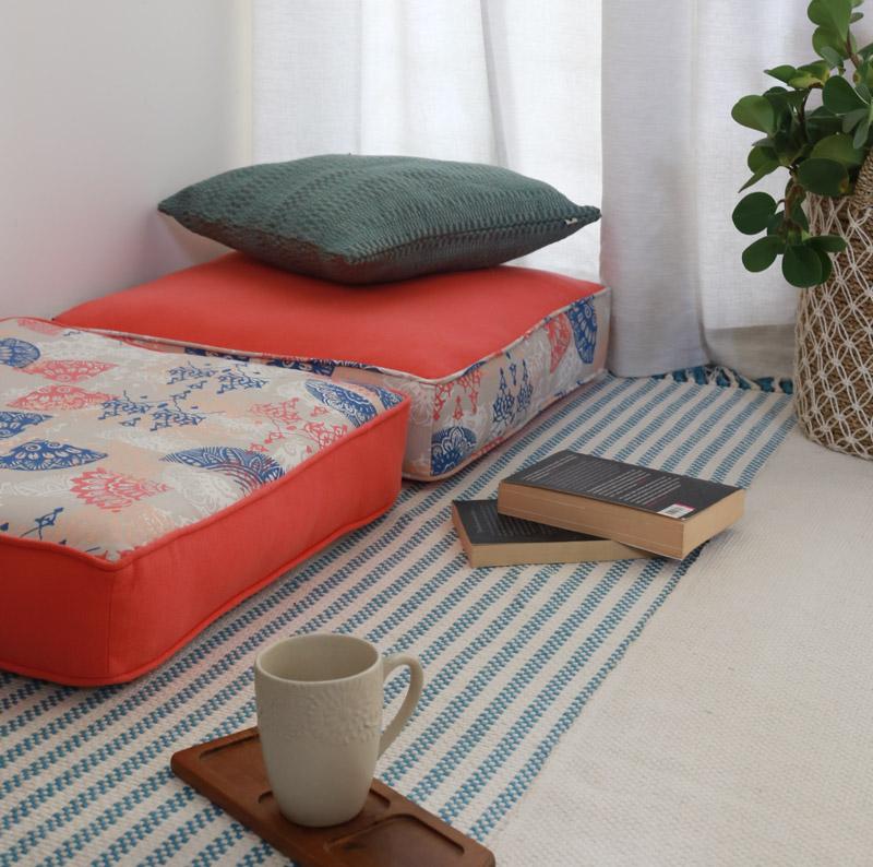Floor Cushions, Rugs in living room