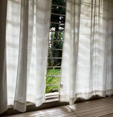 Customizable Sheer Curtain, Slub Cotton - Bleached White