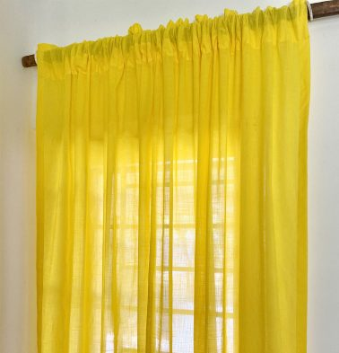 Slub Sheer Cotton Curtain Cyber Yellow