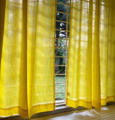Customizable Sheer Curtain, Slub Cotton - Cyber Yellow