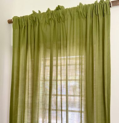 Slub Sheer Cotton Curtain Herbal Green