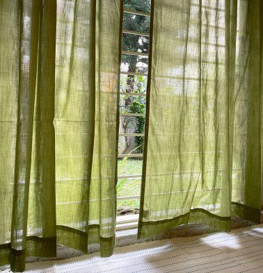 Customizable Sheer Curtain, Slub Cotton - Herbal Green